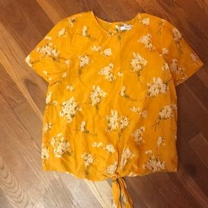 Madewell silk tie front top with bottom back